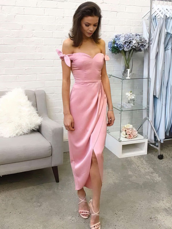 Sheath/Column Off-the-shoulder Silk-like Satin Tea-length Bow Bridesmaid Dresses #PDS010020106087