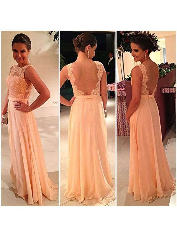 A-line Bateau Chiffon Floor-length Lace Bridesmaid Dresses #PDS01002014904