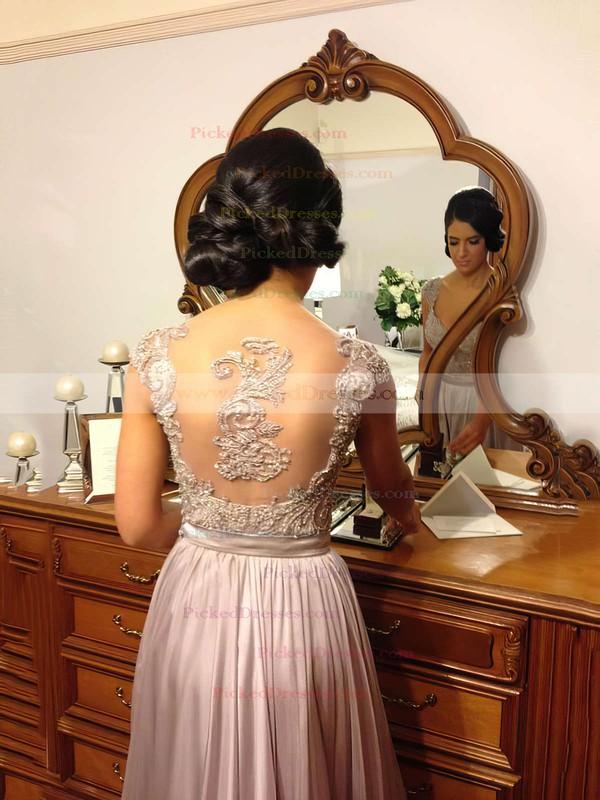 A-line Straps Chiffon Floor-length Appliques Bridesmaid Dresses #PDS01002015284