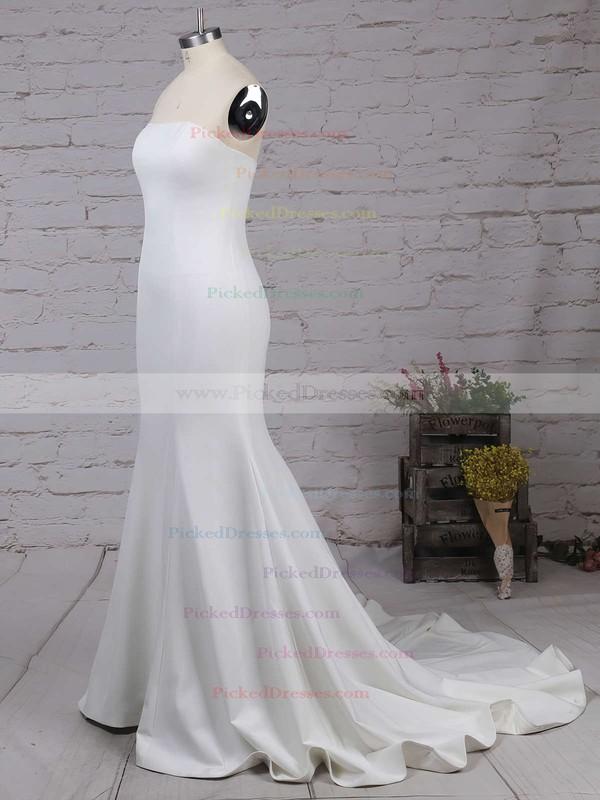 Trumpet/Mermaid Strapless Silk-like Satin Sweep Train Ruffles Bridesmaid Dresses #PDS01002016264
