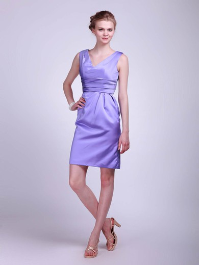 Satin Sheath/Column V-neck Knee-length Ruched Bridesmaid Dresses #PDS01012021
