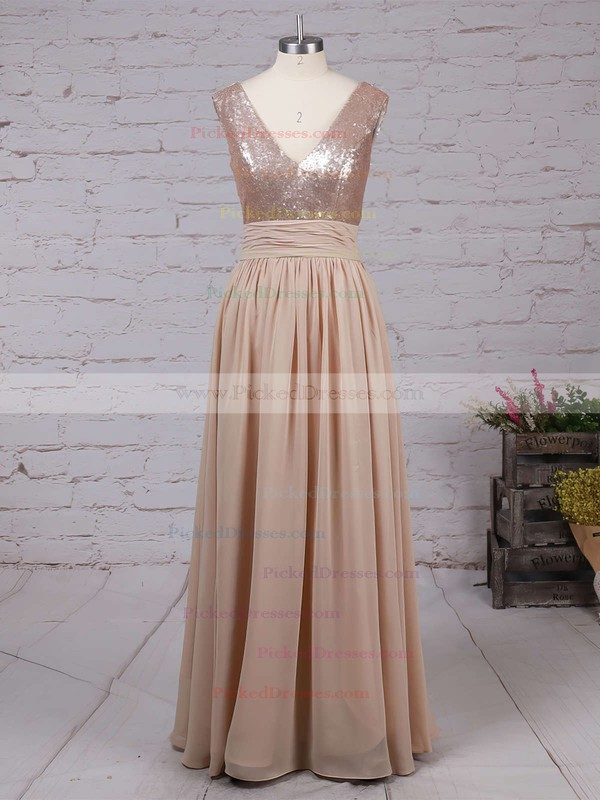 Champagne V-neck Sequined and Chiffon Pleats Inexpensive Bridesmaid Dresses #PDS01002016329