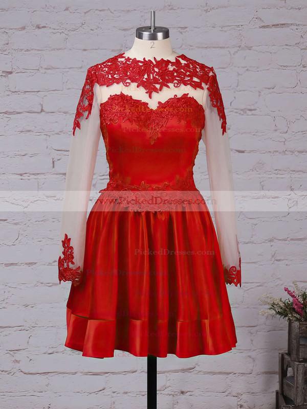 Gorgeous Elastic Woven Satin Tulle Appliques Lace Burgundy Short/Mini Long Sleeve Bridesmaid Dresses #PDS01002016430
