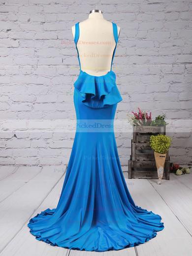 Trumpet/Mermaid Scoop Neck Jersey Sweep Train Ruffles Bridesmaid Dresses #PDS01002016910