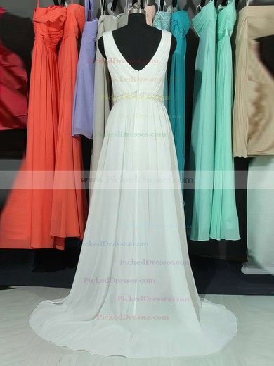 A-line V-neck Chiffon Sweep Train Lace Bridesmaid Dresses #PDS01002018761