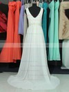 A-line V-neck Chiffon Sweep Train Lace Bridesmaid Dresses #PDS01002018761
