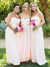 A-line Sweetheart Floor-length Chiffon Sashes / Ribbons Bridesmaid Dresses #PDS01013753