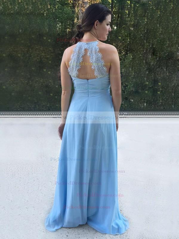 A-line Halter Sweep Train Chiffon Lace Bridesmaid Dresses #PDS01013730