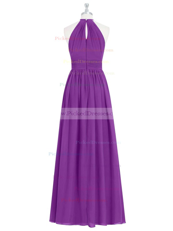 A-line Halter Floor-length Chiffon Ruffles Bridesmaid Dresses #PDS01013731