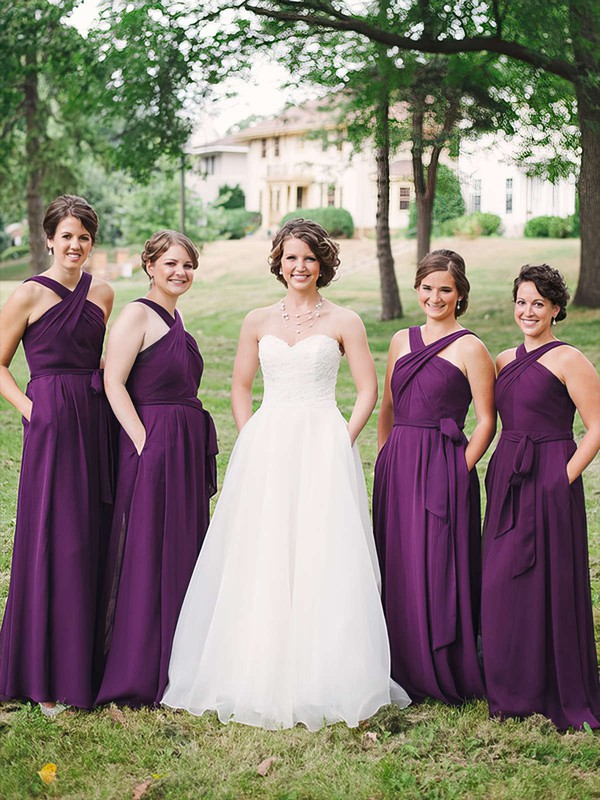 A-line V-neck Floor-length Chiffon Sashes / Ribbons Bridesmaid Dresses #PDS01013747