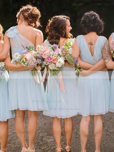 A-line V-neck Knee-length Chiffon Lace Bridesmaid Dresses #PDS01013748