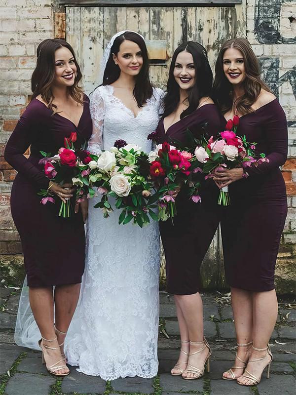 Sheath/Column V-neck Knee-length Silk-like Satin Bridesmaid Dresses #PDS01013750