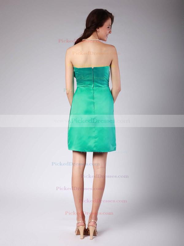 Satin Sheath/Column Sweetheart Short/Mini Pleats Bridesmaid Dresses #PDS01012022