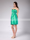 Satin Sheath/Column Sweetheart Short/Mini Pleats Bridesmaid Dresses #PDS01012022