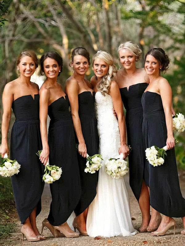 A-line Strapless Asymmetrical Chiffon Split Front Bridesmaid Dresses #PDS01013752