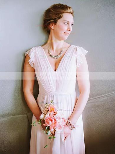 A-line V-neck Tea-length Chiffon Ruffles Bridesmaid Dresses #PDS01013754