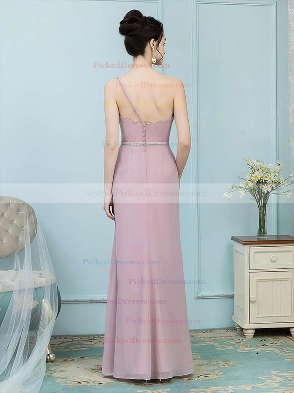Sheath/Column One Shoulder Floor-length Chiffon Sashes / Ribbons Bridesmaid Dresses #PDS01013757