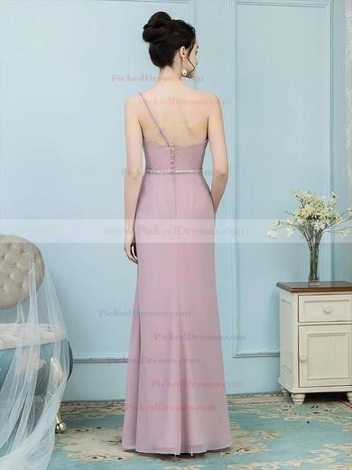 Sheath/Column One Shoulder Floor-length Chiffon Sashes / Ribbons Bridesmaid Dresses #PDS01013757