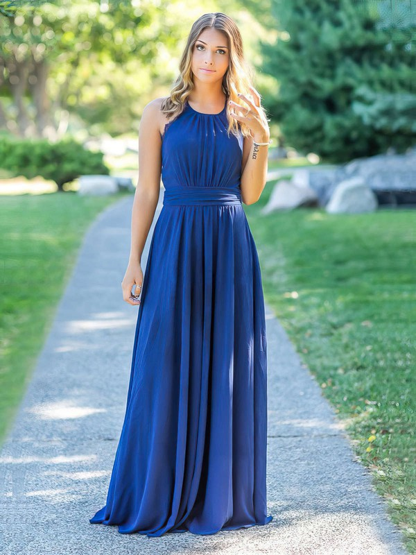 A-line Halter Floor-length Chiffon Lace Bridesmaid Dresses #PDS01013758