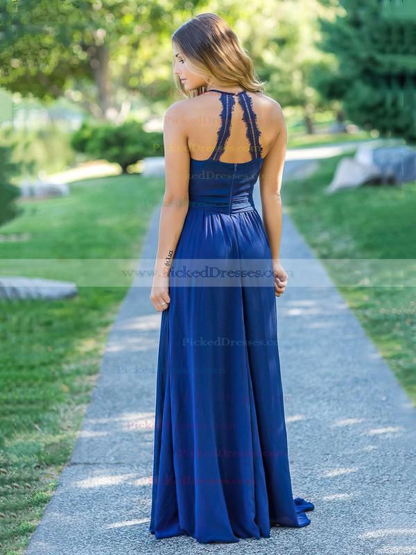 A-line Halter Floor-length Chiffon Lace Bridesmaid Dresses #PDS01013758