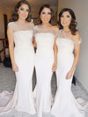 Trumpet/Mermaid One Shoulder Sweep Train Jersey Flower(s) Bridesmaid Dresses #PDS01013733