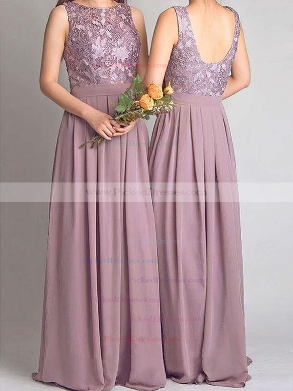 A-line Scoop Neck Floor-length Lace Chiffon Bridesmaid Dresses #PDS01013734