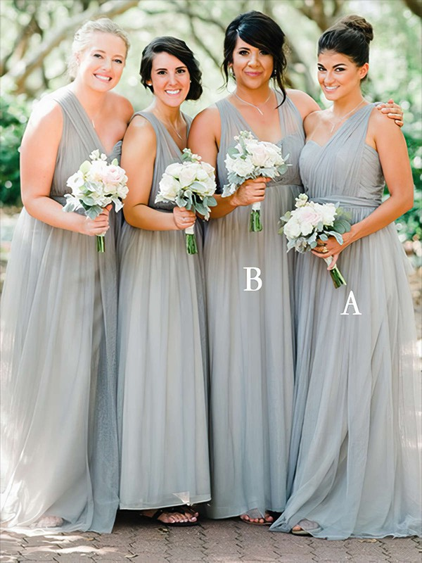 A-line One Shoulder Floor-length Tulle Ruffles Bridesmaid Dresses #PDS01013735