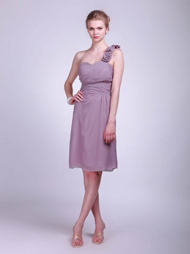 Chiffon A-line One Shoulder Knee-length Flower(s) Bridesmaid Dresses #PDS01012023