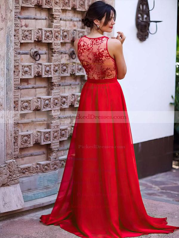 A-line V-neck Sweep Train Lace Chiffon Bridesmaid Dresses #PDS01013736