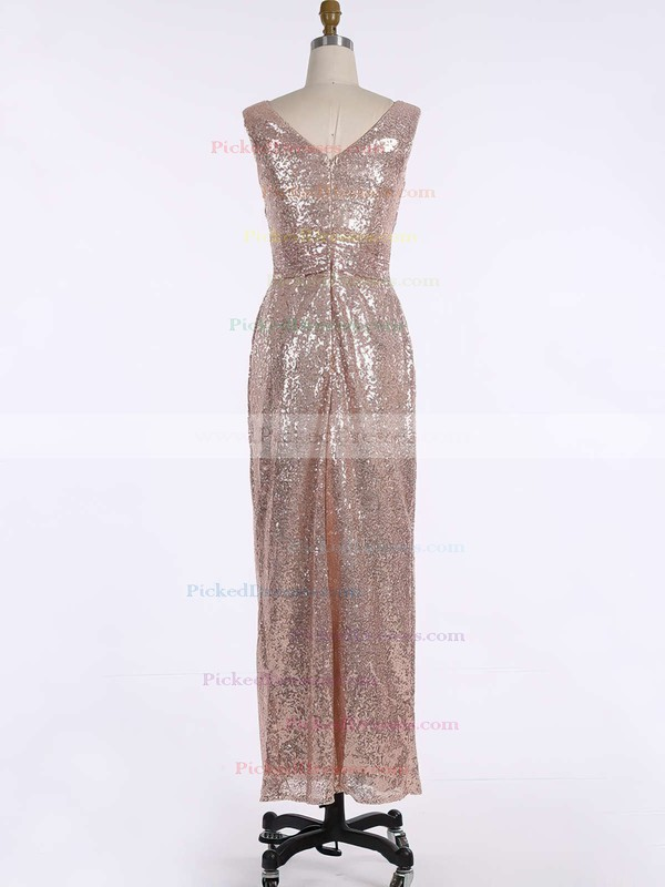 Sheath/Column V-neck Floor-length Sequined Ruffles Bridesmaid Dresses #PDS01013739