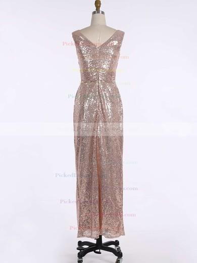 Sheath/Column V-neck Floor-length Sequined Ruffles Bridesmaid Dresses #PDS01013739