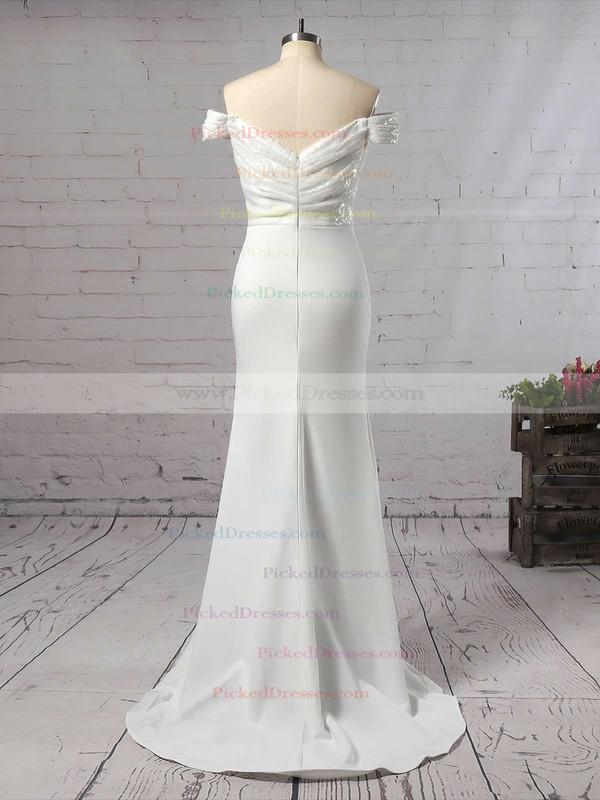 Trumpet/Mermaid Off-the-shoulder Sweep Train Sequined Silk-like Satin Ruffles Bridesmaid Dresses #PDS01013743