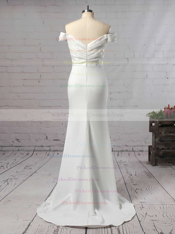Trumpet/Mermaid Off-the-shoulder Sweep Train Sequined Silk-like Satin Ruffles Bridesmaid Dresses #PDS01013743
