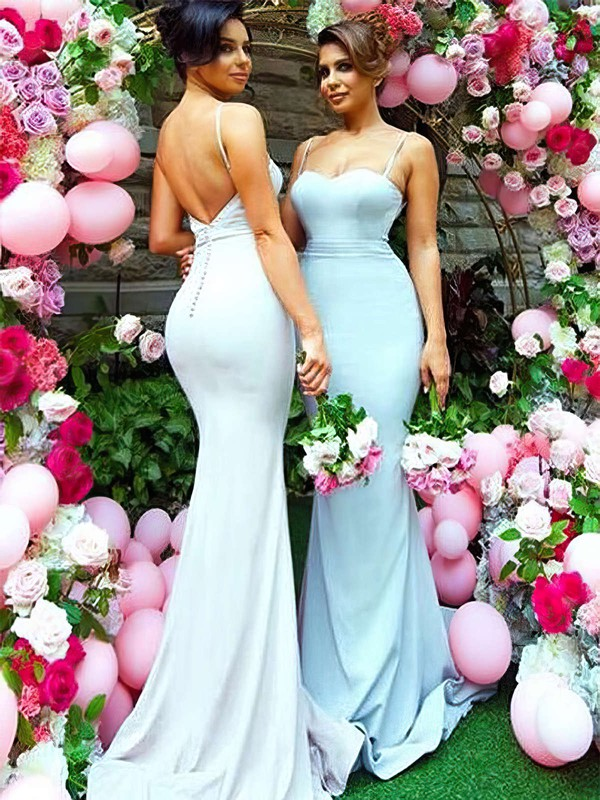 Trumpet/Mermaid Sweetheart Sweep Train Silk-like Satin Bridesmaid Dresses #PDS01013745