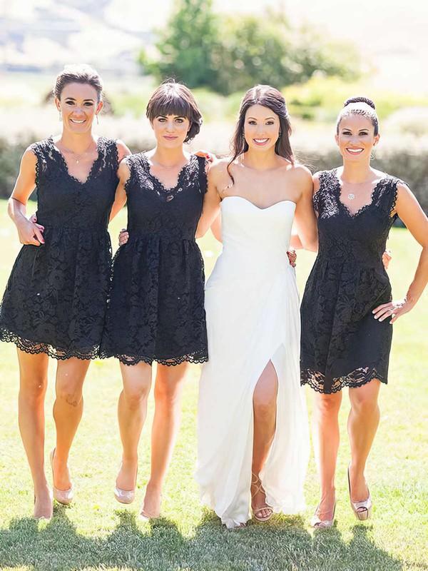 A-line V-neck Short/Mini Lace Bridesmaid Dresses #PDS01013755