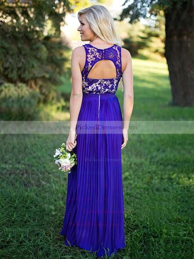 A-line Scoop Neck Floor-length Lace Chiffon Pleats Bridesmaid Dresses #PDS01013759