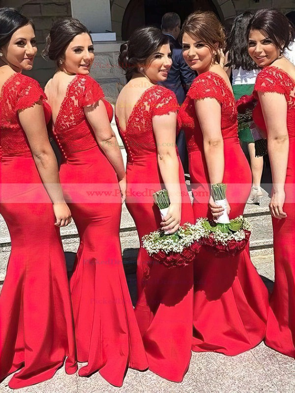 Trumpet/Mermaid V-neck Sweep Train Lace Silk-like Satin Sashes / Ribbons Bridesmaid Dresses #PDS01013737