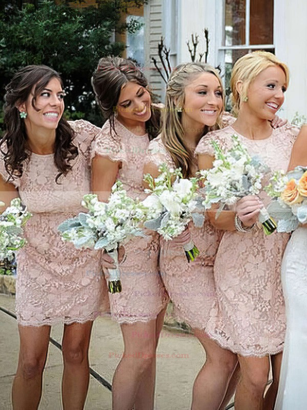 Sheath/Column Scoop Neck Short/Mini Lace Bridesmaid Dresses #PDS01013740