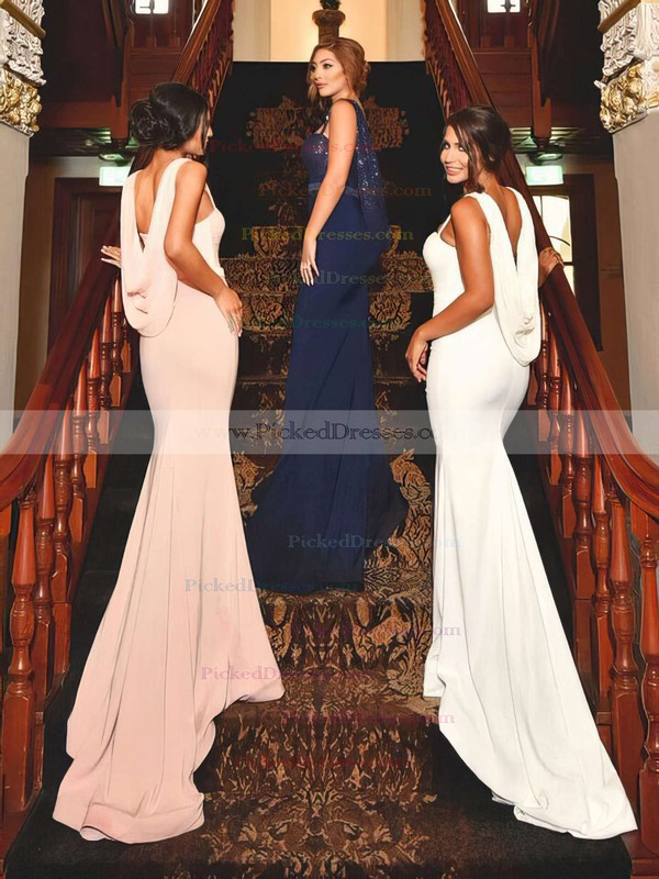 Trumpet/Mermaid Sweetheart Sweep Train Jersey Sequined Sashes / Ribbons Bridesmaid Dresses #PDS01013741