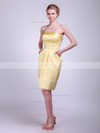 Satin A-line Strapless Knee-length Pockets Bridesmaid Dresses #PDS01012024