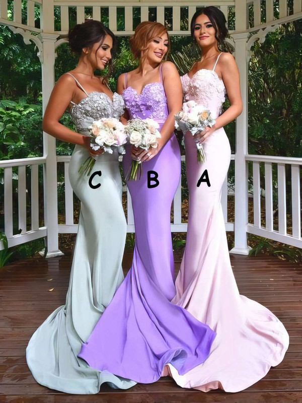 Trumpet/Mermaid Sweetheart Sweep Train Jersey Appliques Lace Bridesmaid Dresses #PDS01013742