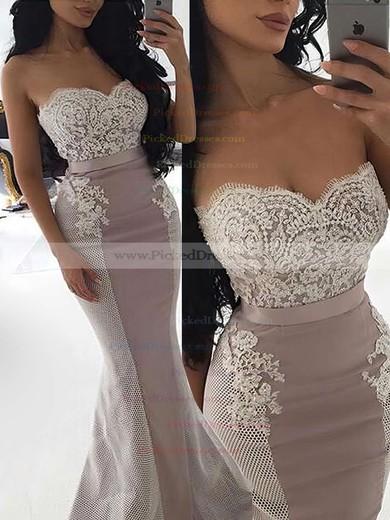 Trumpet/Mermaid Sweetheart Sweep Train Silk-like Satin Lace Bridesmaid Dresses #PDS01013744