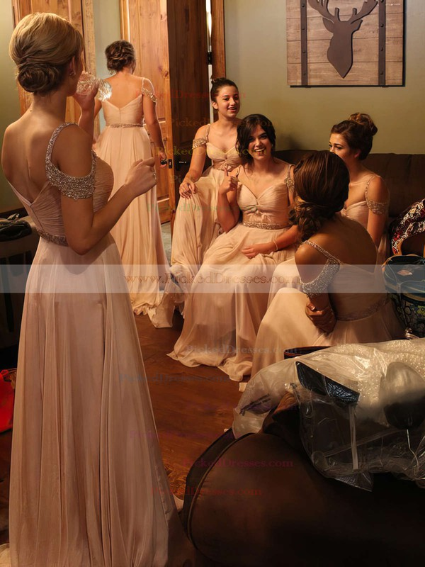 A-line V-neck Floor-length Chiffon Beading Bridesmaid Dresses #PDS01013746