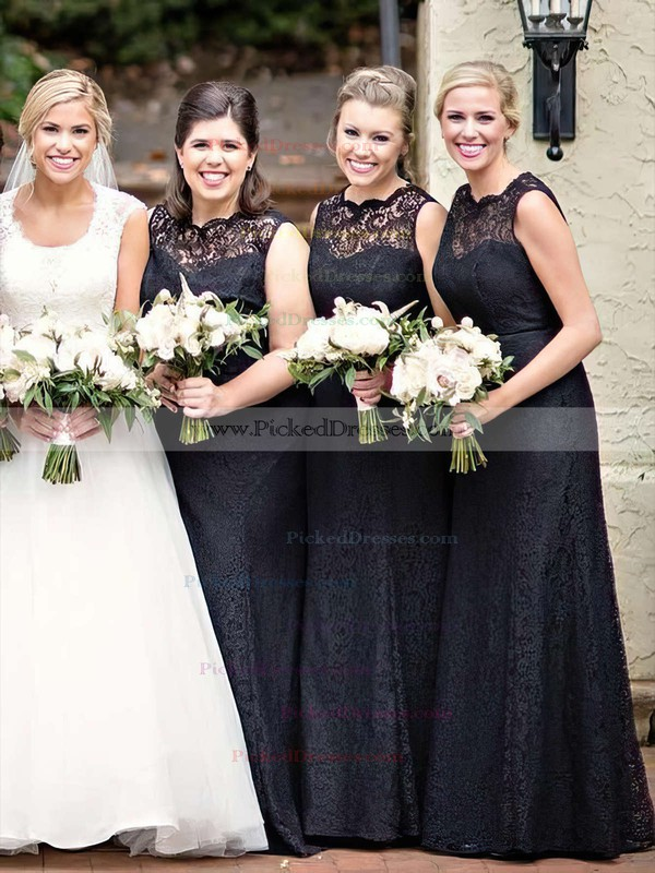 A-line Scalloped Neck Floor-length Lace Bridesmaid Dresses #PDS01013751