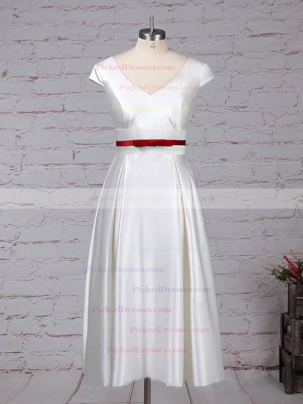 Princess V-neck Tea-length Satin Sashes / Ribbons Wedding Dresses #PDS00023271