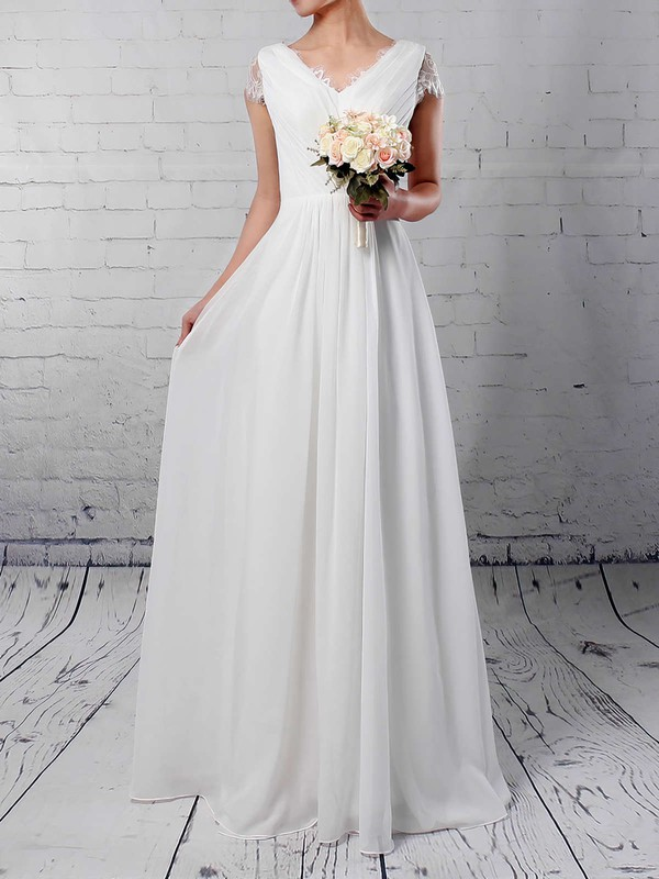 A-line V-neck Floor-length Lace Chiffon Ruffles Wedding Dresses #PDS00023283
