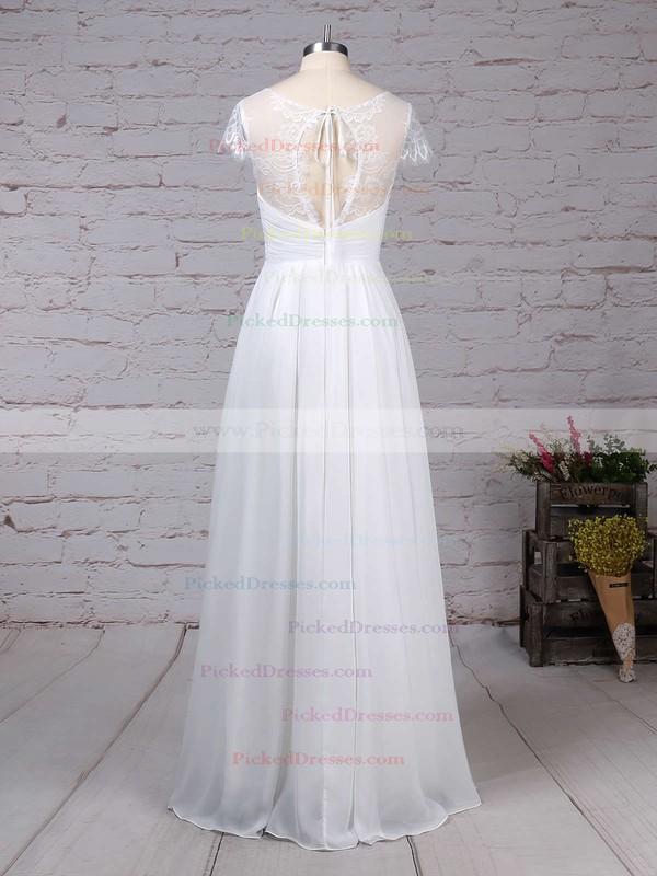 A-line V-neck Floor-length Lace Chiffon Ruffles Wedding Dresses #PDS00023283