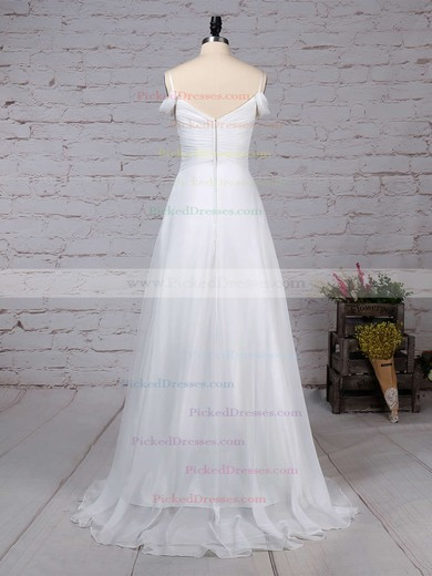 Empire V-neck Sweep Train Chiffon Ruched Wedding Dresses #PDS00023198