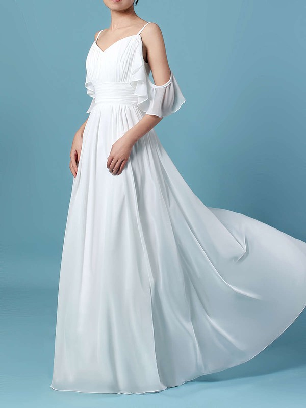 A-line V-neck Sweep Train Chiffon Sashes / Ribbons Wedding Dresses #PDS00023303