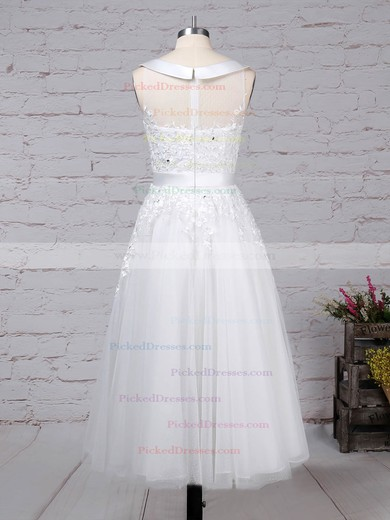 Ball Gown Scoop Neck Tea-length Tulle Beading Wedding Dresses #PDS00023272
